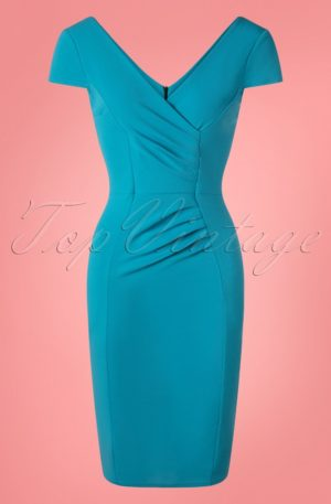 50s Brenda Pencil Dress in Mosaic Blue