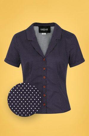 50s Caterina Mini Polka Dot Shirt in Navy