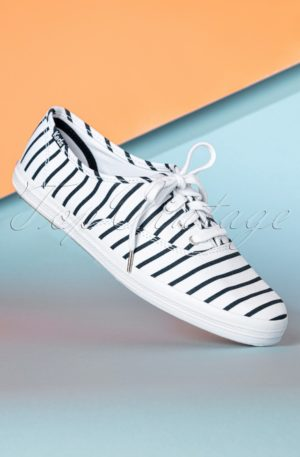 50s Champion Breton Stripes Sneakers in White and Navy