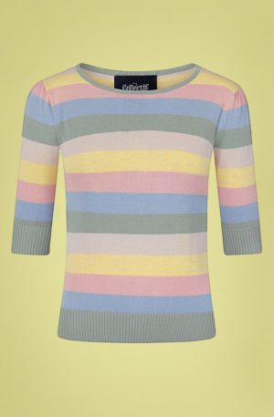 50s Chrissie Teacup Stripes Knitted Top in Multi