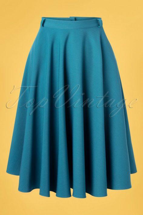 50s Circle Skirt in Light Petrol