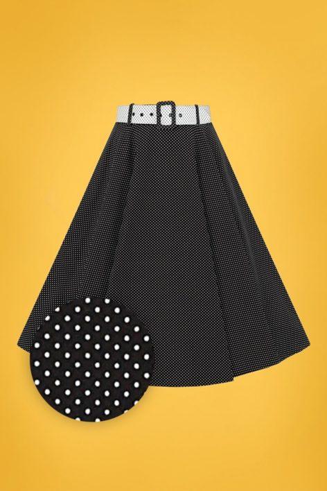 50s Clair Mini Polka Dot Swing Skirt in Black and White