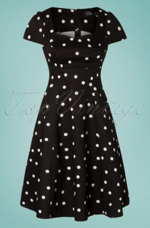 50s Claudia Polkadot Swing Dress in Black