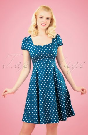 50s Claudia Polkadot Swing Dress in Peacock Blue