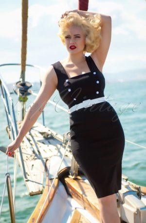 50s Cyd Pencil Dress in Black