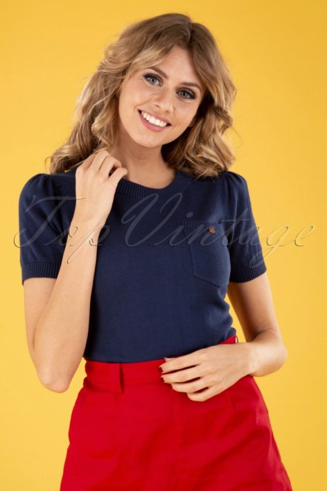 50s Davina Plain Knitted Top in Navy