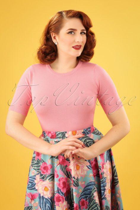 50s Debbie Short Sleeve Sweater in Pastel Pink