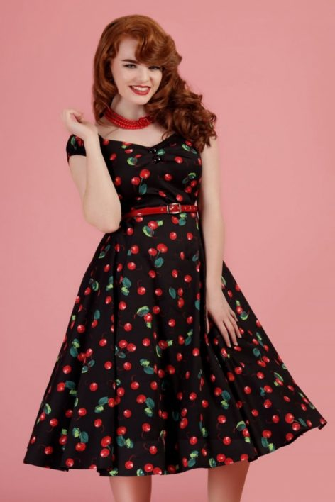 50s Dolores Cherry Doll Swing Dress in Black