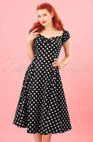 50s Dolores Doll dress Black White polka swing dress