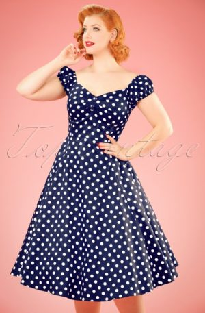 50s Dolores Polkadots Doll Swing Dress in Navy and White
