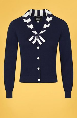 50s Doreen Cardigan in Navy and White