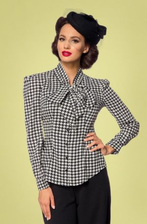 50s Emerson Houndstooth Blouse in Black and Ivory