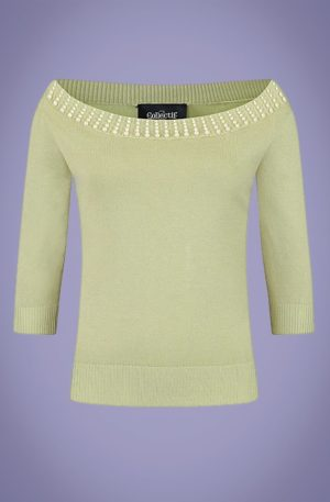 50s Emilia Pearly Jumper in Green
