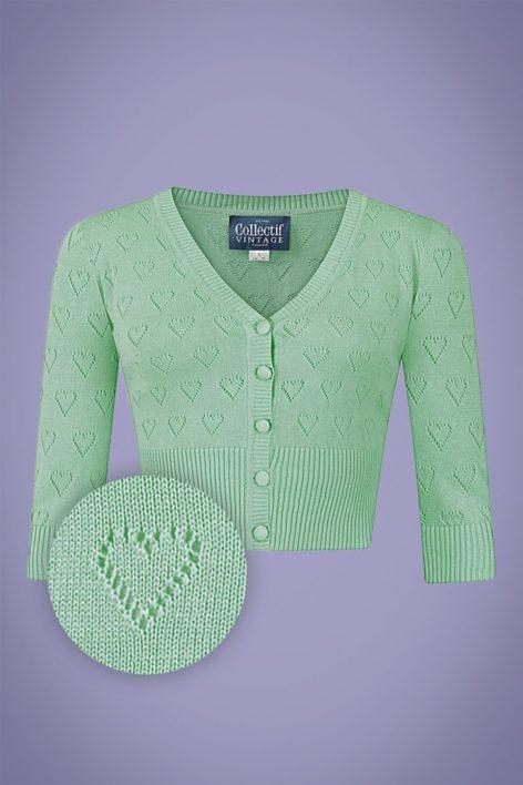50s Evie Heart Cardigan in Mint Green