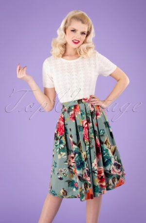 50s Flare Floral Swing Skirt in Duck Egg Blue