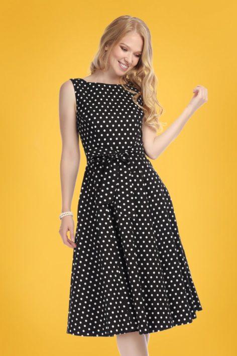 50s Frances Polka Dot Swing Dress in Black