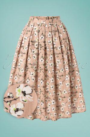 50s Fresh Bloom Swing Skirt in Nude