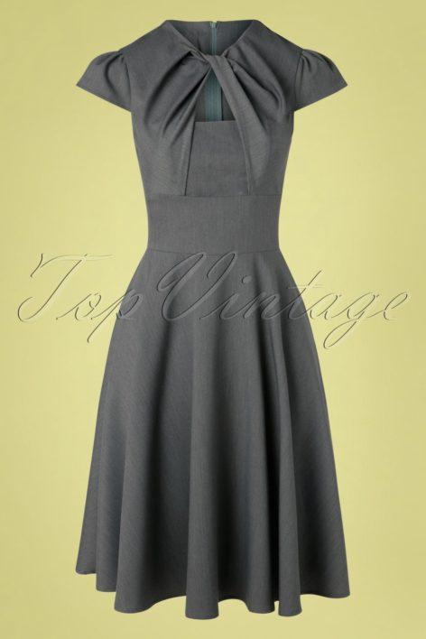 50s Geneva Swing Dress in Grey