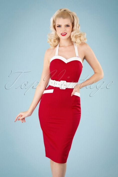 50s Georgie Nautical Halter Pencil Dress in Red