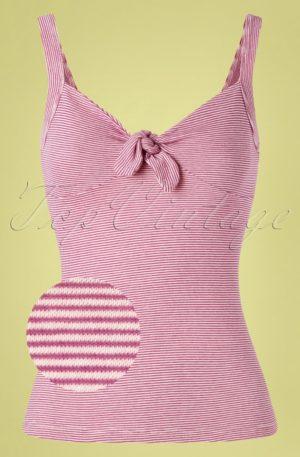 50s Gisele Babylon Stripe Camisole Top in Vivid Purple