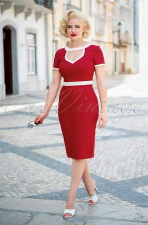 50s Hazel Pencil Dress in Red