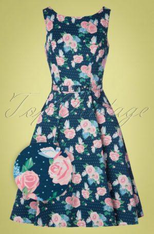 50s Hepburn Pretty Floral Swing Dress in Navy