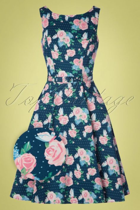 50s Hepburn Pretty Floral Swing Dress in Navy
