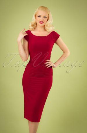50s Jacintha Pencil Midi Dress in Red