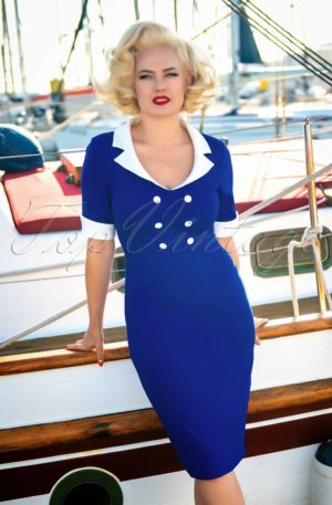 50s Janice Pencil Dress in Royal Blue