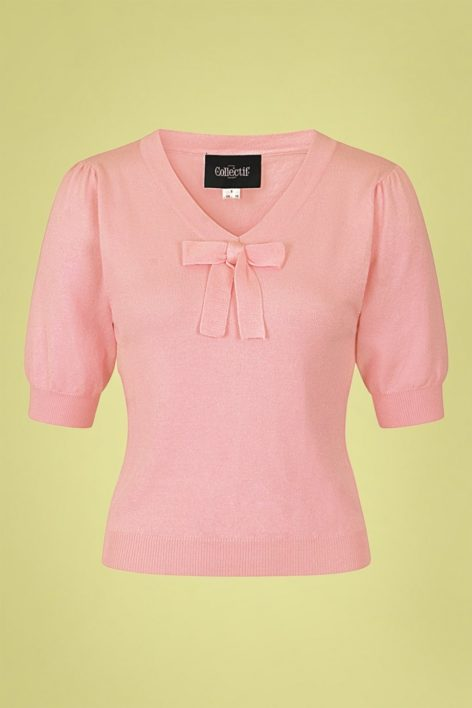 50s Jennifer Knitted Top in Pale Pink