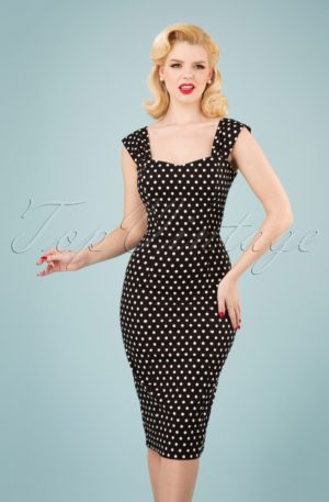50s Jill Polka Dot Pencil Dress in Black