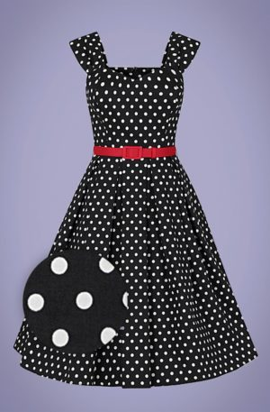 50s Jill Polka Dot Swing Dress in Black