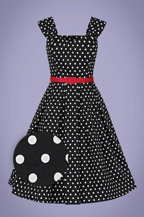 50s Jill Polka Dot Swing Dress in Black