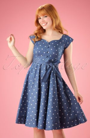 50s Judy Hearts Swing Dress in Denim