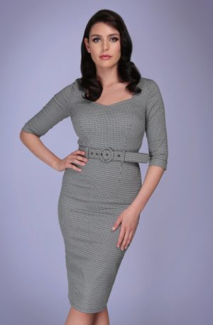 50s Katya Houndstooth Pencil Dress in Black and White