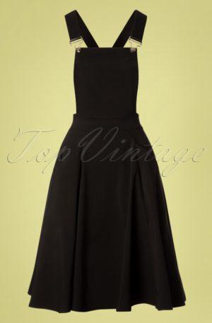 50s Kayden Overalls Swing Dress in Black