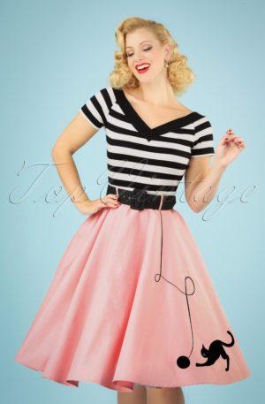 50s Kitty Cat Swing Skirt in Light Pink
