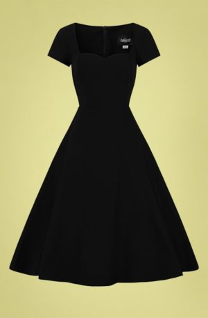 50s Kristy Plain Swing Dress in Black