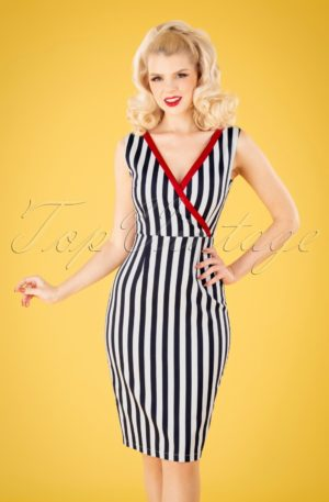 50s Land Ahoy Pencil Dress in Navy