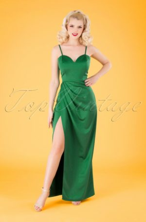 50s Lya Occasion Maxi Dress in Emerald Green