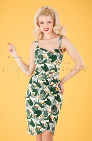 50s Mahina Bird Of Paradise Sarong Dress in White
