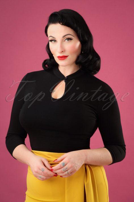50s Mandarin Collar Peek a Boo Top in Black