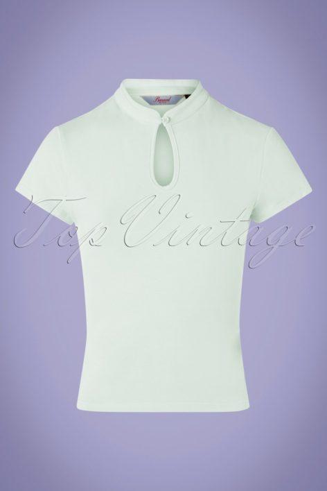 50s Mandarin Collar Top in Mint