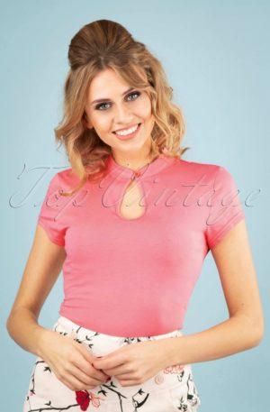 50s Mandarin Collar Top in Pink