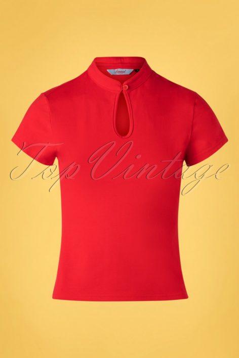 50s Mandarin Collar Top in Red