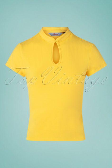 50s Mandarin Collar Top in Yellow