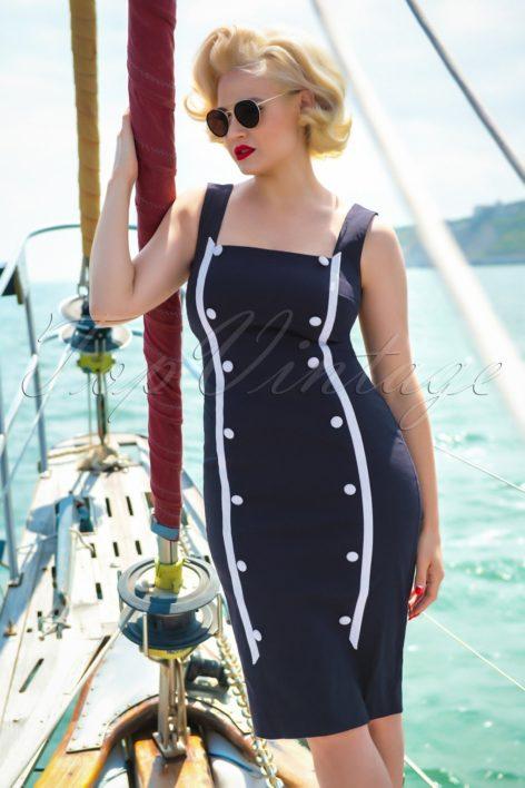 50s Marine Pencil Dress in Navy