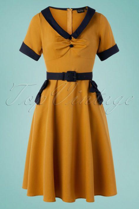 50s Maryann Swing Dress in Honey Yellow