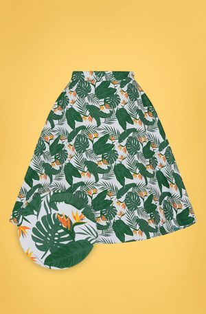 50s Mattie Bird of Paradise Swing Skirt in Ivory and Green