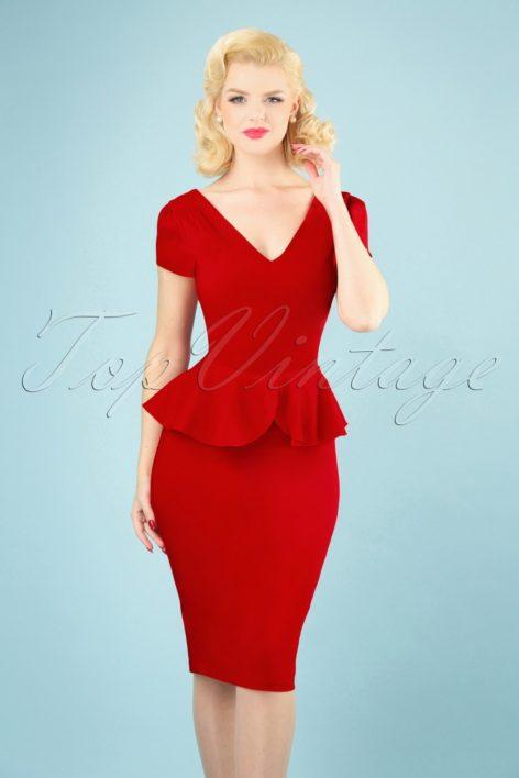 50s Maven Pencil Dress in Lipstick Red